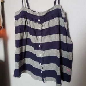 VS Pink Striped Button Front Tank